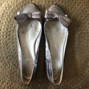 J.Crew Size 7.5 Silver Ballet Flat (Made in Italy)